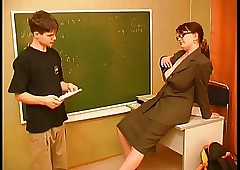 teacher sex : big tit blowjob